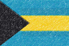 Flag of Bahamas background o texture, color pencil effect. Royalty Free Stock Photography