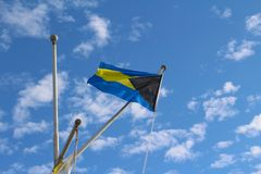 The flag of the Bahamas Islands stock photography