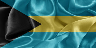 Flag bahamas. Satin flag bahamas wavy background stock photos