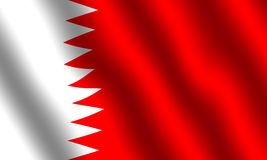 Flag of Bahrain. With waving effect stock illustration