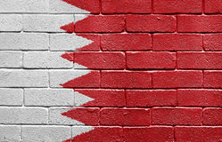Flag of Bahrain on brick wall Stock Photo