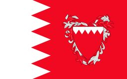 Flag of Bahrain. Officially the Kingdom of Bahrain is an island country situated near the western shores of the Persian Gulf in the Middle East royalty free illustration