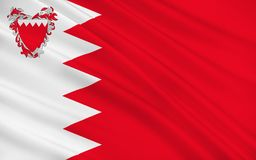 Flag of Bahrain. Officially the Kingdom of Bahrain is an island country situated near the western shores of the Persian Gulf in the Middle East. 3d illustration stock illustration