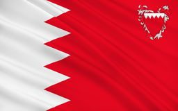 Flag of Bahrain. Officially the Kingdom of Bahrain is an island country situated near the western shores of the Persian Gulf in the Middle East. 3d illustration vector illustration