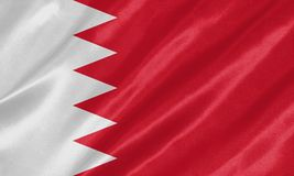 Bahrain Flag. Waving on satin texture royalty free illustration
