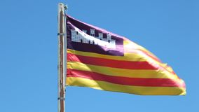 Flag of the Balearic Islands stock video footage