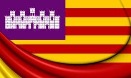 Flag of Balearic Islands, Spain. Royalty Free Stock Photos