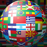 Flag ball. 3D sphere made up of national flags Royalty Free Stock Images
