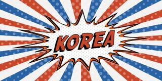 Flag banner of Korea the style of pop art Comic Speech Bubble. Korea cartoon explosion comic con Stock Image