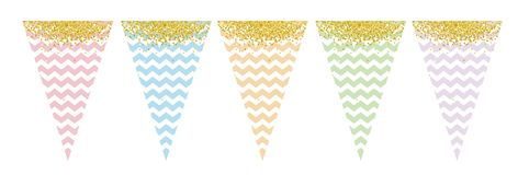 Pastel Color Flag Banner Set. Party Decoration. Do It Yourself. White Chevron and Golden Confetti. stock illustration