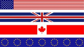 Flag banners. Set of four flag page border designs including usa, uk, canada and europe Stock Images