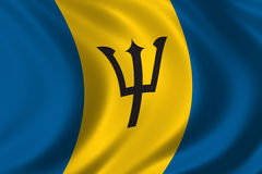 Flag of Barbados. Waving in the wind Stock Image
