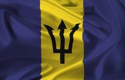 Flag of Barbados waving Stock Photo
