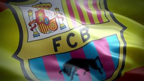 Flag of Barcelona stock video footage