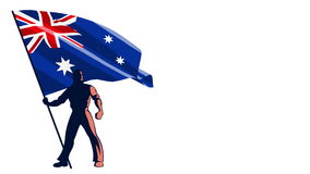 Flag Bearer Australia stock footage