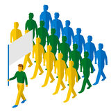 Flag bearer with blank standard and a lot of people Royalty Free Stock Photography