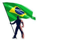 Flag Bearer Brazil stock footage