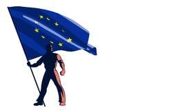 Flag Bearer European Union stock footage