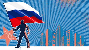 Flag Bearer Russia Background. Flag bearer holding the flag of Russia over grunge animated background with copy space stock video