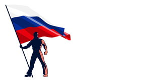 Flag Bearer Russia. Isolated flag bearer holding the flag of Russia stock footage