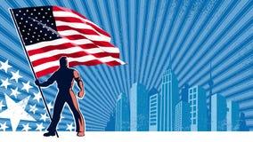 Flag Bearer USA Background stock video footage