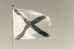 Flag beige tone with dark cross flies on a wind Royalty Free Stock Images