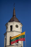 Flag and Belfry of Vilnius Cathedral stock image