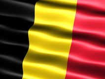 Flag of Belgium. Computer generated illustration of the flag of Belgium with silky appearance and waves royalty free illustration