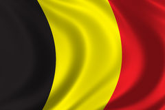 Flag of Belgium. Waving in the wind Royalty Free Stock Photos