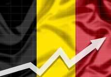 Flag of Belgium EU with up arrow. The concept of success and progress in the country Royalty Free Stock Photo