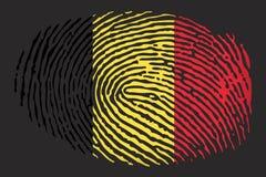 Flag of Belgium in the form of a fingerprint on a black background vector illustration