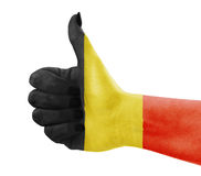 Flag of Belgium on hand. Flag of Belgium on female's hand Royalty Free Stock Photo