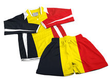 Flag from Belgium on nylon soccer sportswear clothes Royalty Free Stock Photos