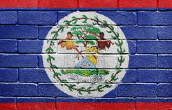 Flag of Belize on brick wall Stock Images