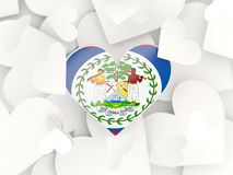 Flag of belize, heart shaped stickers. Background. 3D illustration Stock Photos