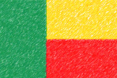 Flag of Benin background o texture, color pencil effect. Stock Images