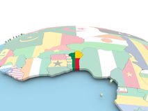 Flag of Benin on bright globe. Benin on political globe with embedded flags. 3D illustration Royalty Free Stock Images