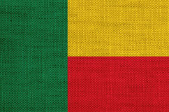 Flag of Benin on old linen Royalty Free Stock Images