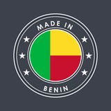 Flag of Benin. Round Label with Country Name for Unique National Goods. Vector. Isolated royalty free illustration