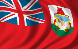 Flag of Bermuda. Waving in the wind Stock Photography
