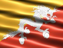 Flag of Bhutan. Computer generated illustration with silky appearance and waves Royalty Free Stock Images