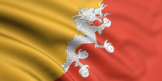Flag Of Bhutan. 3d rendered and waving flag of bhutan Stock Photography