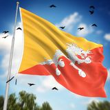 Flag of Bhutan. This is a computer generated and 3d rendered image Royalty Free Stock Image