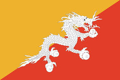 Flag of Bhutan. Royalty Free Stock Photos