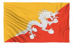 Flag of Bhutan. Isolated on white Royalty Free Stock Images
