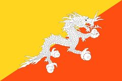 Flag of Bhutan. Official Large Flat Flag of Bhutan Horizontal Stock Images