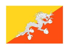 Flag of bhutan. Vector format ai aviable asia orange red yellow white dragon Stock Image