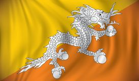 Flag of Bhutan. Vector illustration Royalty Free Stock Photos