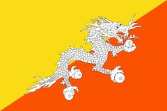 Flag of Bhutan. Vector illustration. World flag Royalty Free Stock Image