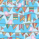 Flag bird sky zen seamless pattern. This illustration is abstract pink bird zen with colorful flag in sky cloud background seamless pattern Stock Photo